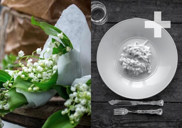 Collage sølv og blomster